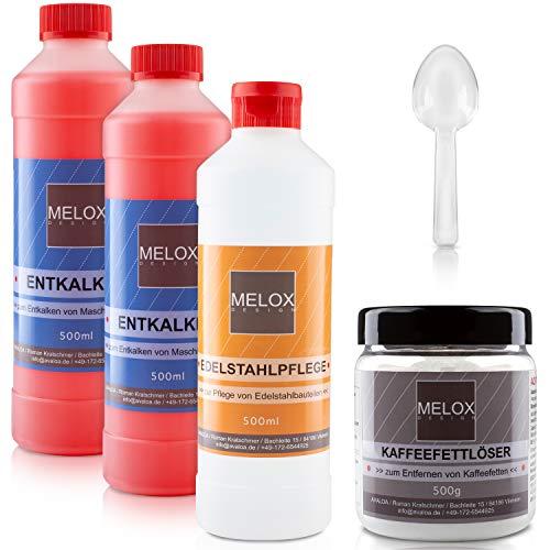 Melox Reinigungsset für Siebträgermaschinen   5er Komplettset aus Entkalker, Kaffeefettlöser, Edelstahlpolitur für Espressomaschine
