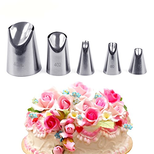 FantasyDay Cake Decorating Set, 5 Pieces Stainless Steel Piping Nozzles Tips Kit - Christmas Birthdays Anniversary Wedding DIY Icing Nozzle for Cupcakes Cakes Cookies Dessert Pastry Making Tools $5