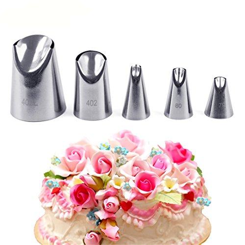 Joyeee 5 teiliges Spritztüllen Kuchen Einrichtung Set - Hochwertigem Edelstahl Sahnehäubchen Deko Backset - zum Dekorieren von Torten, Keksen, Kuchen und Plätzchen