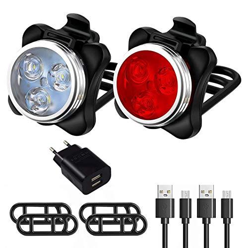 Ozvavzk Luci per Bicicletta,Luce della Bicicletta 4 modalità,Ricaricabile Set Luce Bici LED Light 350LM LED di Avvertimento Fari Posteriori Combinazioni.