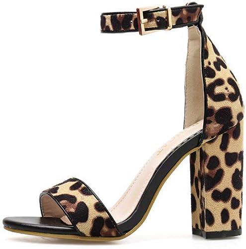 YAN Sandalias de tacón Alto de Las mujeres 2019 nuevos zapatos de Gamuza Sexy Peep Toe Hebilla Moda Damas Ultra Altos Tacones Fiesta de Boda Noche,A,37