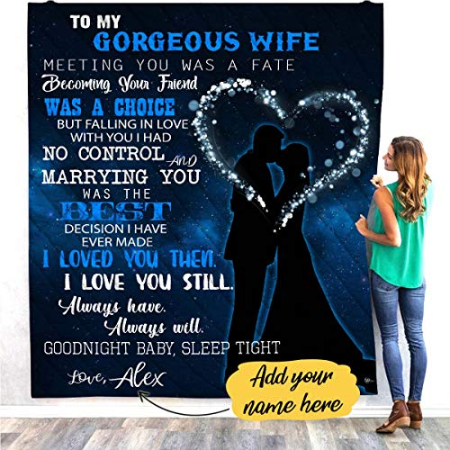 VTH Global Personalized Custom Husband Name to My Gorgeous Wife Mothers Day Quilt Fleece Throw Blanket Queen Full Twin Size Tapestry Wall Hanging Birthday Wedding Anniversary Presents