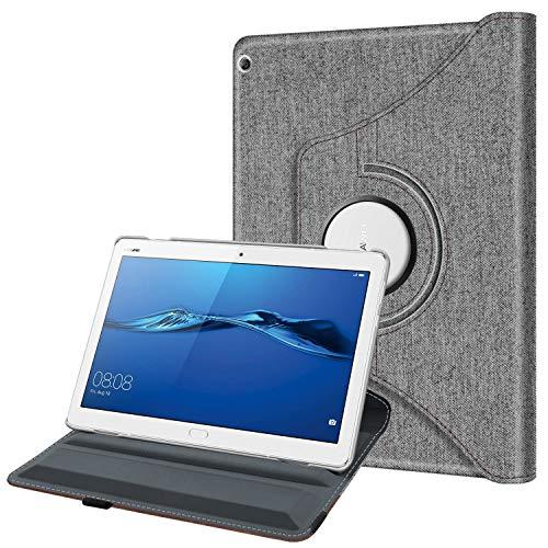 Fintie Hülle für Huawei Mediapad M3 Lite 10-360 Grad Rotierend Stand Schutzhülle Cover mit Ständerfunktion & Auto Schlaf/Wach Funktion für Huawei Mediapad M3 Lite 10,1 Zoll Tablet, Denim grau