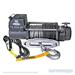 Superwinch 1595201 Tiger Shark 12V Winch with Aluminum Hawse and Synthetic Rope - 9500 lb. Load Capacity