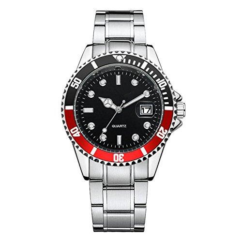 Herren Edelstahl Uhren,Kimdera Männer Elegant Design Wasserdicht Kalender Goldene Uhr Unisex Business Mode Kleid Analog Quarz analog Armbanduhr (rot)