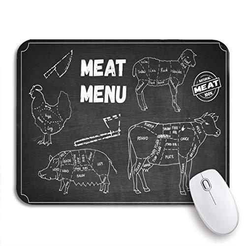 Gaming Mouse Pad Fleisch der Symbole Rindfleisch Schweinefleisch Huhn Lamm Messer Axt rutschfeste Gummi Backing Computer Mousepad für Notebooks Maus Matten