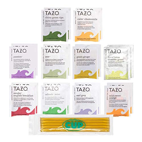 Tazo Tea Bags Sampler 20 Count Variety Gift Box, 10 Different Flavors with By The Cup Honey Sticks