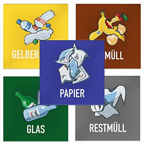 Kulinu 64541 Aufkleber Mülltrennnung Müll Sticker 5er Set (Farbig Quadratisch, 5 Stück)
