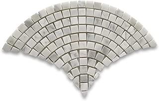 Carrara Marble White Carrera Venato Fish Scale Scallop Fan Pattern Mini Mosaic Tile Honed