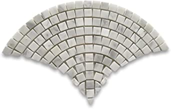Carrara Marble White Carrera Venato Fish Scale Scallop Fan Pattern Mini Mosaic Tile Honed