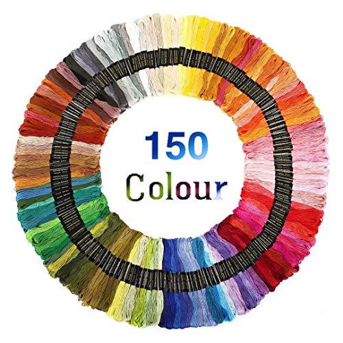 Stickgarn Embroidery Threads Nähgarne Stickerei Basteln Crafts Floss Set 150 Docken Sticktwist 8m 6-fädig Bunt Multicolor für Kreuzstich Basteln Freundschaftsbänder