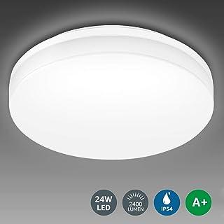 LE 24W Lámpara LED de Techo Plafón LED de Baño Impermeable IP54 Super Brillante 2400lm 5000k Blanco Frío Luz de Techo Iluminación de Techo Ideal para Sala de Estar, Cocina, Balcón, Pasillo, Baño, etc