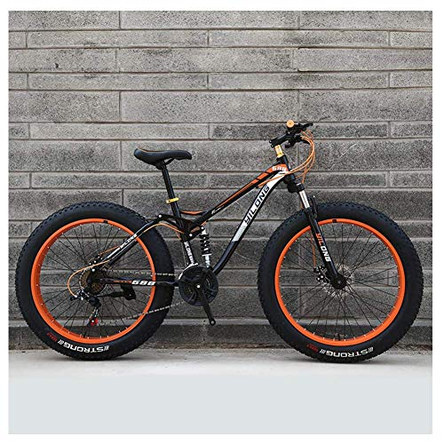 Vélos de montagne pour femmes pour hommes, cadre en acier à haute teneur en carbone, vélo de montagne semi-rigide à frein à disque, vélo tout terrain, vélos antidérapants, orange, 26 pouces 27 vites