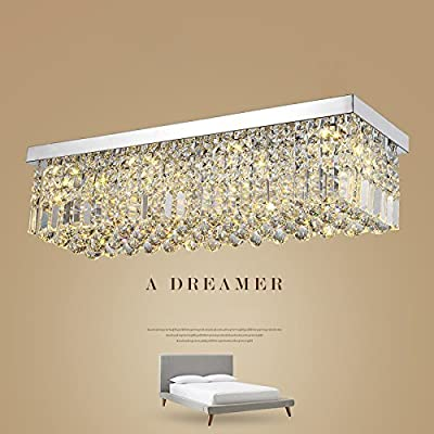 "L47"" Rectangular Rain Drop Crystal Chandeliers Lighting Modern Flush Mount Ceiling Light Fixture"