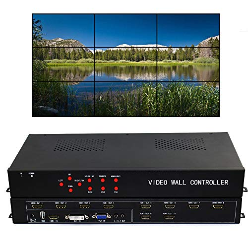 ISEEVY Video Wall Controller 3x3 2x5 2x4 Video Wall Processor support HDMI DVI VGA USB inputs for max 10 TV Splicing