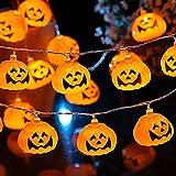 Sadocom 10 luces LED para Halloween, funciona con pilas, luces de calabaza clásicas, luces de hadas para fiestas navideñas