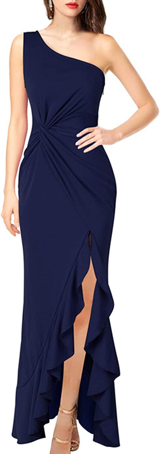 WIWIQS Women One Shoulder Split Bodycon Mermaid Evening Cocktail Long Dress Maxi Ruched Ruffle Party Prom Dress