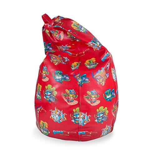 MiPuf - Puff de Pera Súper M Edición SuperThings - 120x75x75 cm - Tejido Polipiel Alta Resistencia - Doble Costura y Doble Cremallera - Relleno Incluido - Rojo - 4 años de Garantía