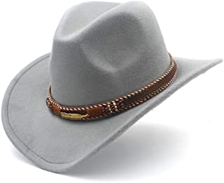 SHENTIANWEI Men Women Wool Western Cowboy Hat with Punk Belt Pop Wide Brim Jazz Hat Sombrero Hat Church Hat Size 56-58CM