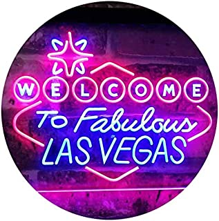 Welcome to Las Vegas Casino Beer Bar Display Dual Color LED Neon Sign Blue & Red 400 x 300mm st6s43-i3078-br
