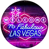 ADV PRO Welcome to Las Vegas Casino Beer Bar Display Dual Color LED Enseigne Lumineuse Neon Sign Bleu et Rouge 400 x 300mm st6s43-i3078-br