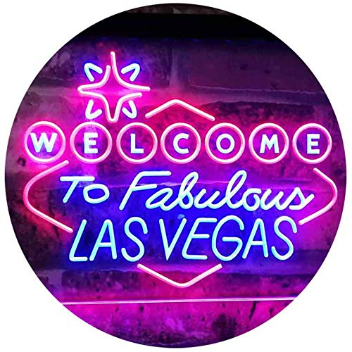 ADVPRO Welcome to Las Vegas Casino Beer Bar Display Dual Color LED Neon Sign Blue & Red 16