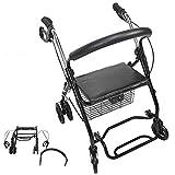 Zerone - Deambulatore a 4 ruote, con telaio in acciaio, per persone anziane