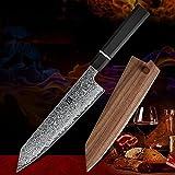 8.5 '' Cuchillo de bunka de pulgada VG10 japonés Damasco de acero de acero Chef Santoku Cuchillo de corte cuchillos de cocina con funda de madera