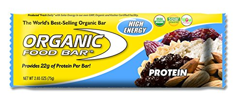 Organic Food Bar - Protein Bar, Perfect On-The-Go Food, 22 Grams of USDA Organic Vegan Protein (Pack of 12, 2.6 oz)