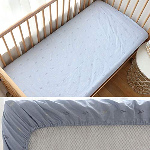 weichuang Super Soft and Breathable Newborn Mattress Baby Fitted Sheet For Newborns Cotton Soft Crib Bed Sheet For Children Mattress Cover Protector Deluxe Foam Mattress (Color : Blue Arrow)