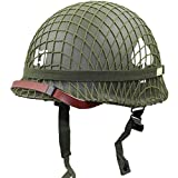 WW2 Ejército de EE.UU. M1 Verde Casco Replica con Net/Lienzo Correa de Barbilla DIY Pintura