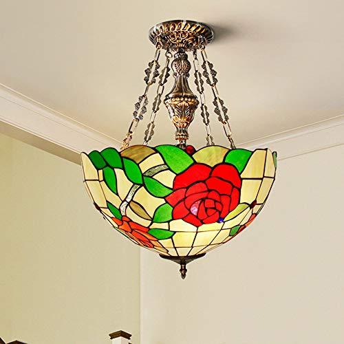 Tesysyet Lámpara de techo LED estilo Tiffany pastoral mediterránea, lámpara colgante americana de cristal colorido, flores rojas, sala de estar, dormitorio, balcón, Φ40 cm (color: luz cálida)