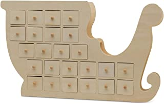 Christmas Advent Calendar 20 x 12 Inch with Drawers, Pre Assembled Santa's Sleigh Shaped, Wooden Advent Calendar with Drawers, Ready to Decorate and Personalize, for DIY & Crafters by Woodpeckers