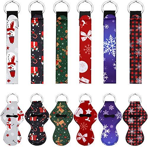 12 Piezas Llaveros de Soporte de Bálsamo Labial de Navidad Estuche Protector de Llavero de Lápiz Labial de Neopreno con Cordón de Pulsera para Niñas Mujeres