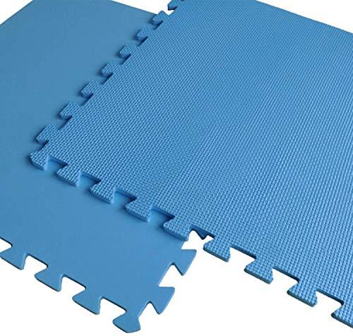 Sport Schutzmatten Set - 8 Puzzlematten mit Randstücke,Bodenschutzmatten/Unterlegmatte/Fitnessmatte/Turnmatte/Sportmatte(je 50 x 50 x 1 cm,Blau)
