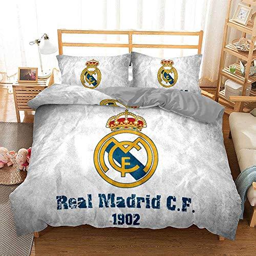 chenyike Funda Nórdica para Cama de Matrimonio 220 x 240 cm con 2 Funda de Almohada 50 x 75 cm Microfibra Juego de Cama 3 Piezas con Cierre de Cremallera - Real Madrid Football Club diseño