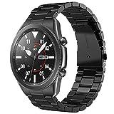 V-MORO Armband Kompatibel für Samsung Galaxy Watch 3 45mm, Keine Lücke Solider Edelstahl Metall Ersatz Uhrenarmband Bracelet Strap Band für Galaxy Watch 3 45mm(Black)