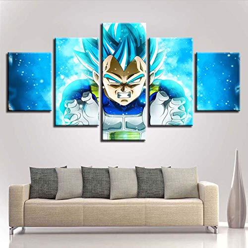 WLQQ Cuadros de Lienzo Decoración Imagen Dragon Ball Goku Saiyan 5 Piezas Arte Hogar Enmarcado HD Impreso Lienzo Pintura,A,40x60x2+40x80x2+40x100cmx1