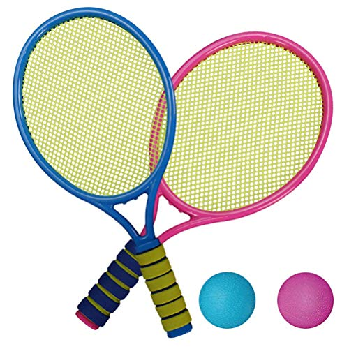YDLYA Juego de Bolas de Raqueta de Tenis para niños de Color Aleatorio, Raqueta de bádminton Ligera, Juguete para jardín de Playa, Patio Trasero,con bádminton, Apto para niños de 3 a 12 años.