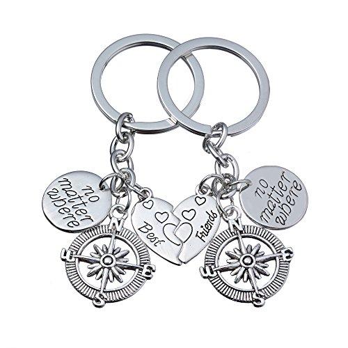 2pcs BBF Best Friends Key Chain Ring Set No Matter Where Compass Split Broken Heart Friendship Gift Unisex (Compass)