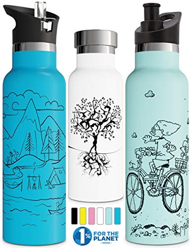 Vacuum Insulated Water Bottle with BPA Free Straw Lid Sports...