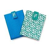 Roll'eat - Pack x2: BOC'n'Roll Active Azul + BOC'n'Roll Tiles Verde | Bolsas Merienda Porta Bocadillos Ecológicas y Reutilizables sin BPA | Fundas Bocadillo con Cierre Fácil Ajustable | 2 Unidades