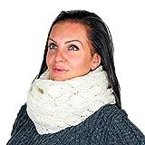 Bufanda de punto para mujer, 100% lana merina, cálida de invierno
