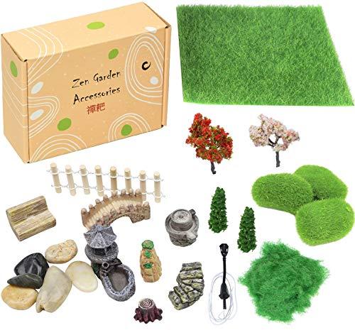 Simple Creativity Mini Zen Garten Accessoires Feengarten Deko Zubehör Miniatur Sand Garten Dekoration Künstliche Garten Gras Miniatur Geschenk für Mädchen Jungen und Erwachsene Terrarium Zubehör