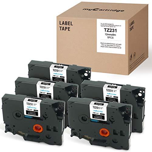 MyCartridge 5 Ruban pour Etiqueteuse compatible Brother TZe-231 TZe231 12 mm x 8m pour Brother P-Touch PT-1000 D400 D400VP D600VP D210VP E100 H100 H100lb H105 H110 P700 P750W(Noir sur Blanc)