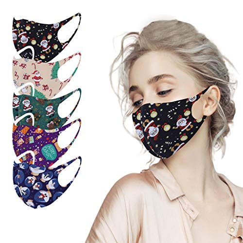 Printed Face_Masks Washable Reusables Cloth Fabric,Adult Dustproof Face Protection Fashion Balaclava for Women Men