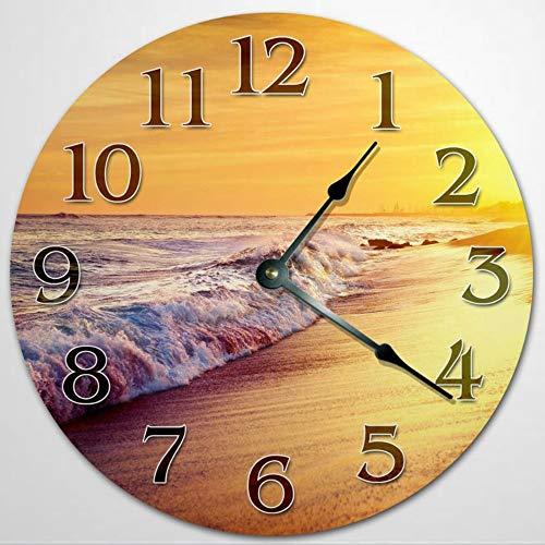 Sunset Sea SHORE - Reloj de pared para sala de estar, reloj de pared de madera, 30,4 cm, funciona con pilas, decoración de pared de granja, decoración del hogar