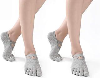 Calcetines De Yoga con Agarres, Calcetines Antideslizantes De Cinco Dedos para Pilates, Barra, Ballet, Fitness, para Mujeres, 2 Pares
