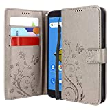 Lacass Floral Butterfly PU Leather Flip Wallet Case Cover Kickstand with Card Slots and Wrist Strap for Cricket Icon, Cricket Vision 2 U304AC, Wiko Ride U300, AT&T Radiant Core U304AA (Gray)