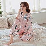 MLDSJQJ Conjuntos de Pijamas de Seda de Manga Larga para Mujer Primavera Otoño Seda Ropa de Dormir Pijamas Conjunto de Ropa de Dormir Conjuntos de Pijamas de niña,C HS 818 Fen BAI he,L